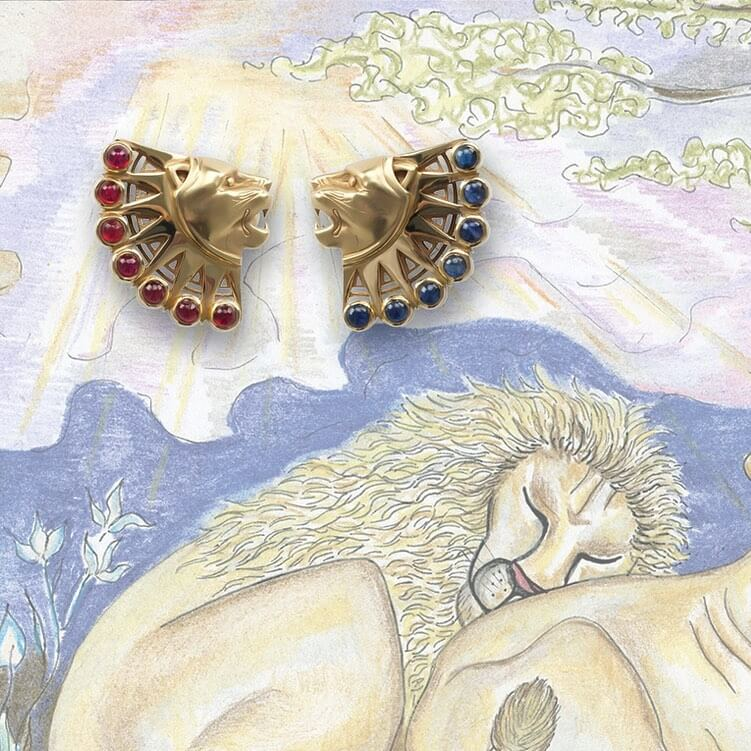 Lion Totem Earrings In 14k Yellow Gold