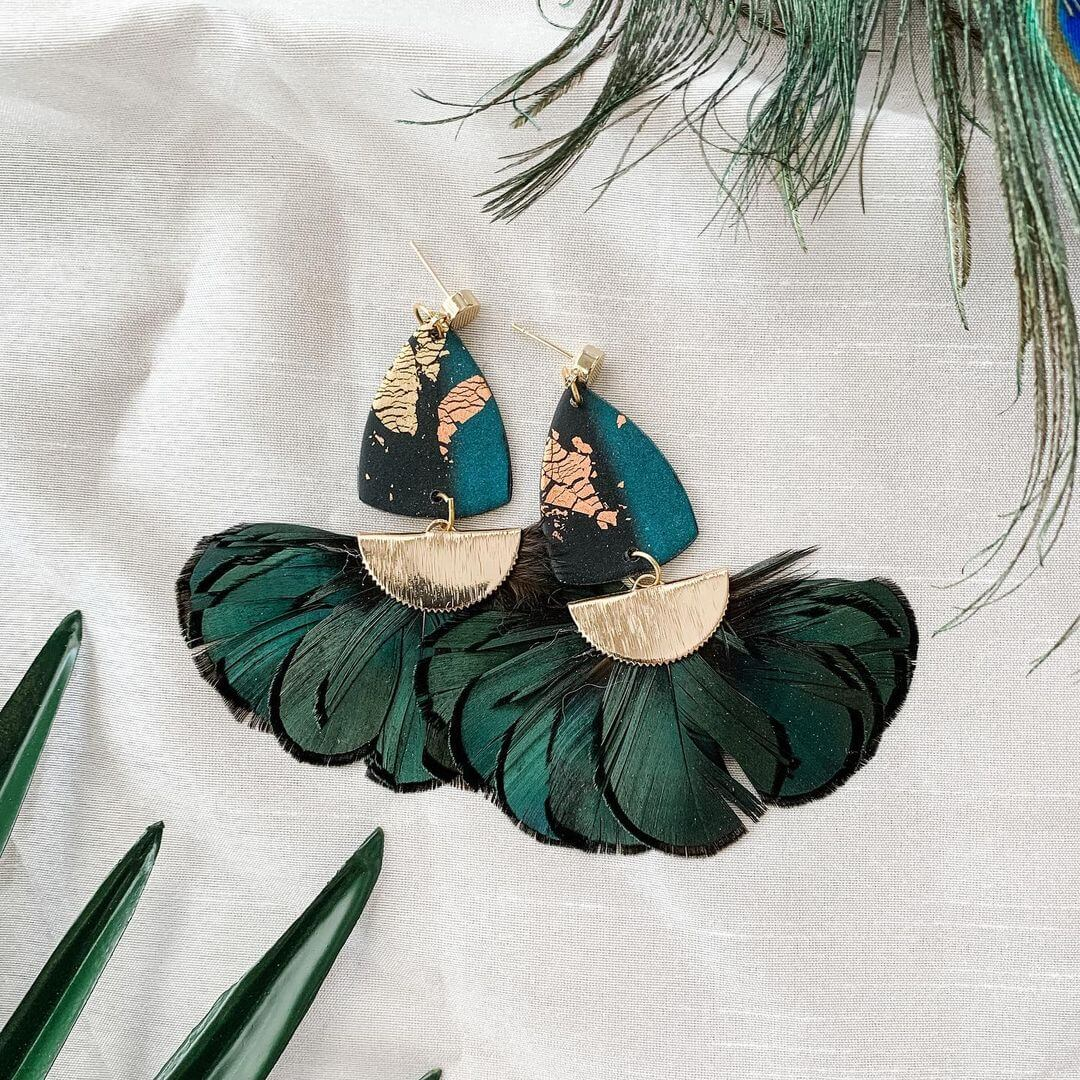 Venus Earrings With Peacock Fan