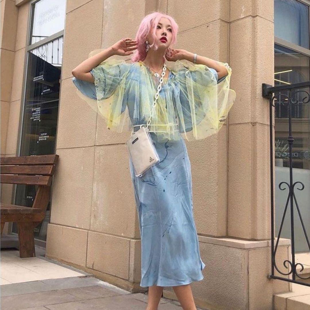 Silk Hand Marbled Open Back Dress - Blue