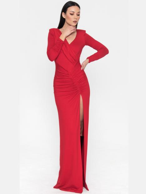 Aurora Draped Dress Red