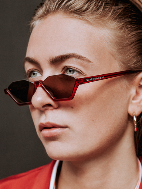 Rebellious Red Frame + Brown Lenses