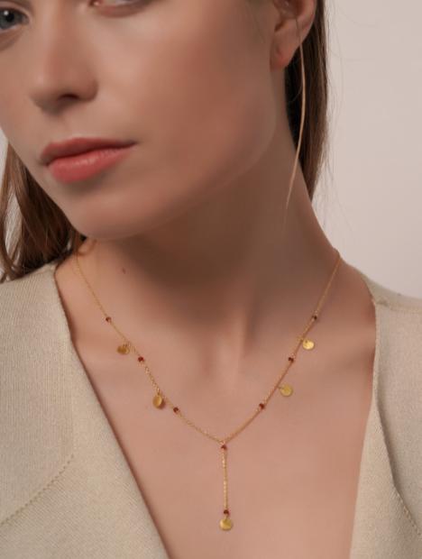 18kt Gold Garnet Coin Necklace