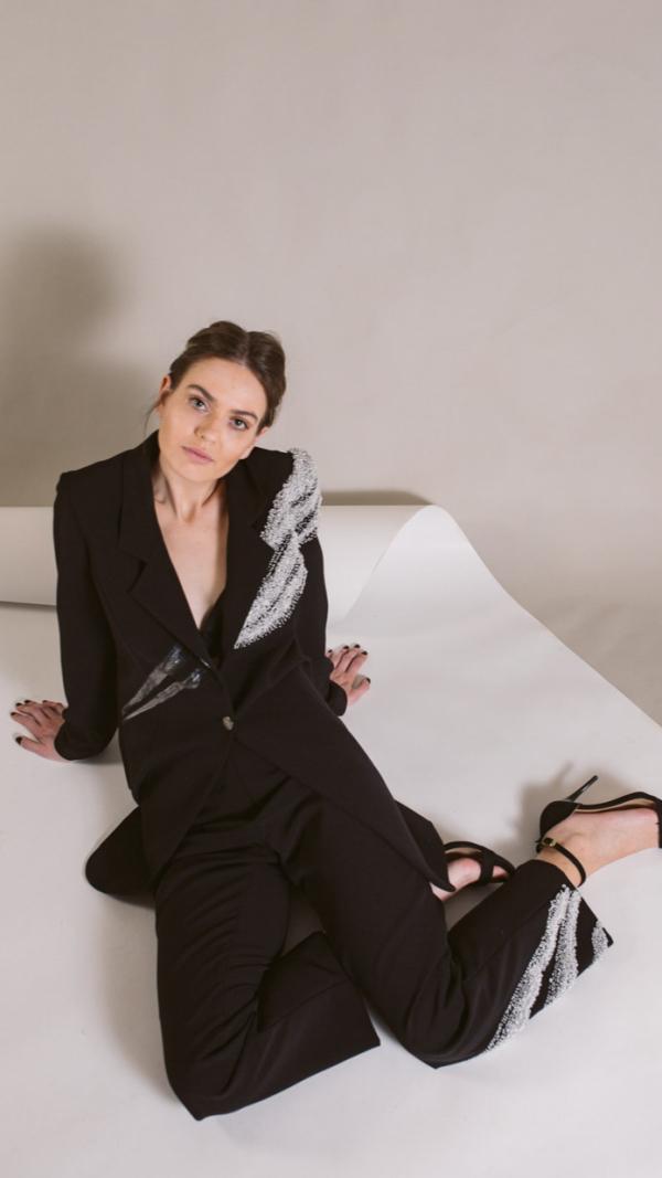 Woman's Hand-Painted Black Suit -Golden Ratio Collection