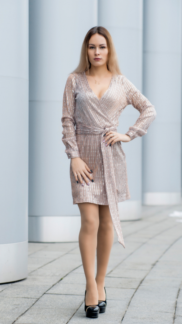 Cocktail Mini Wrap Beige Sequin Party Dress