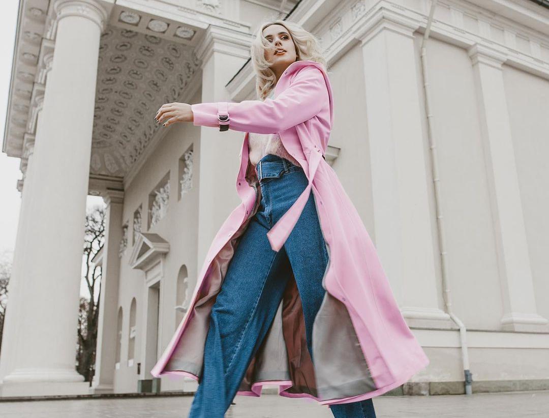 Women's Pink Long Raincoat