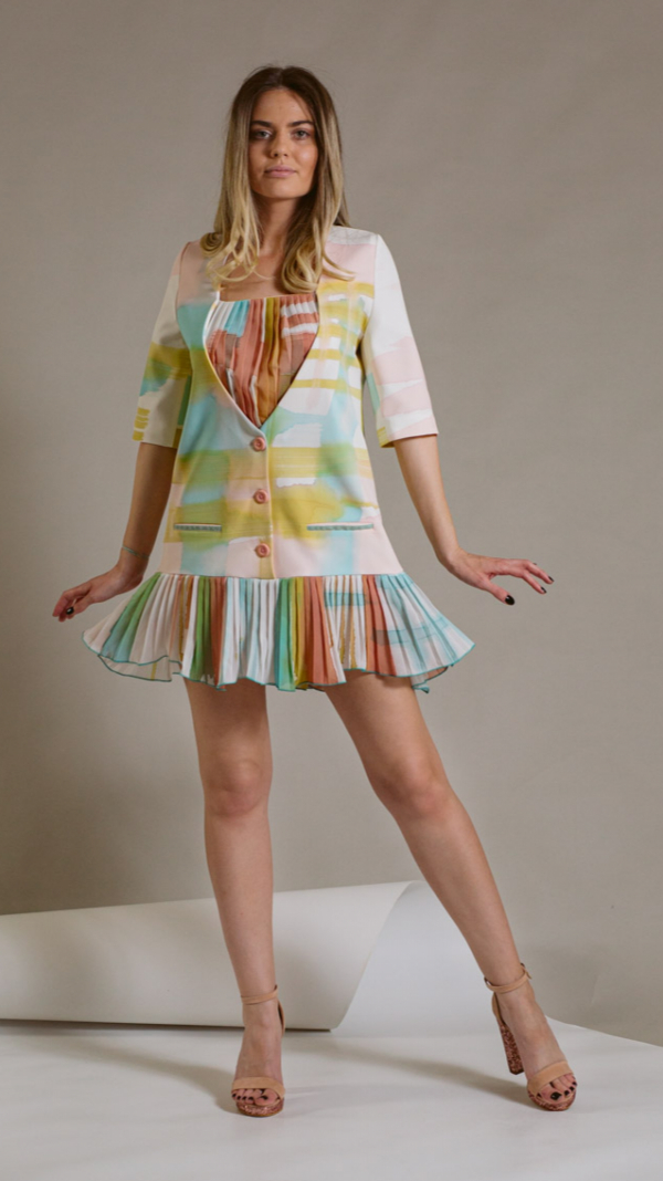 Hand-Painted And Pleated Dress- Collection Ray Charles
