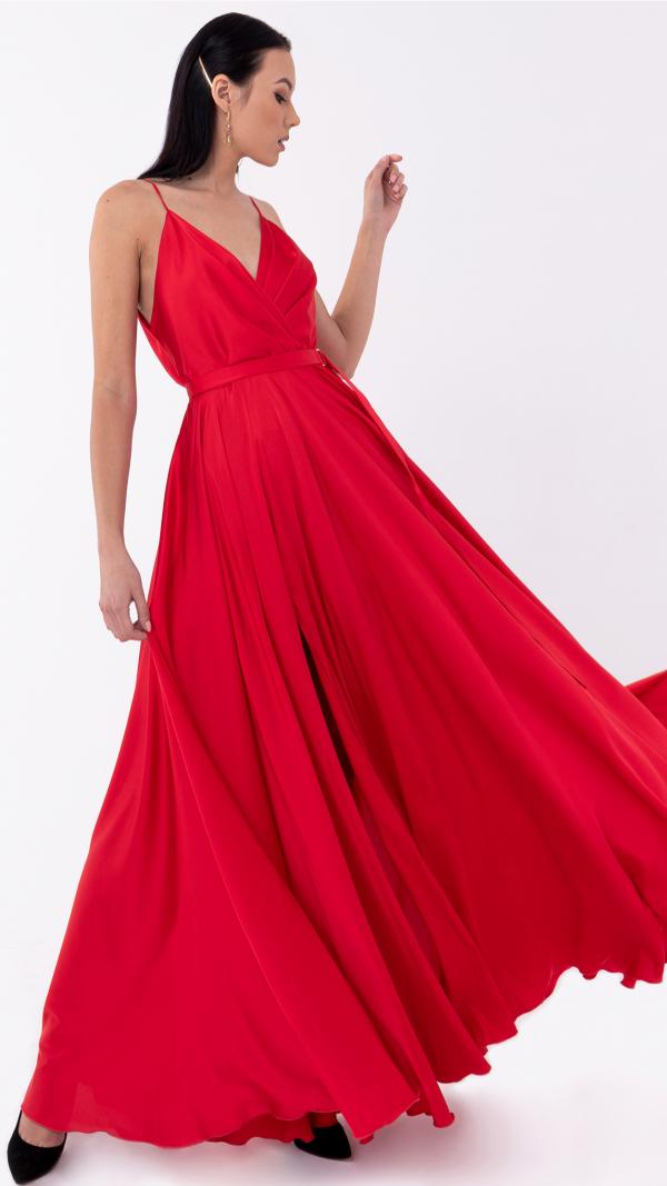 Satin Long Dress Red