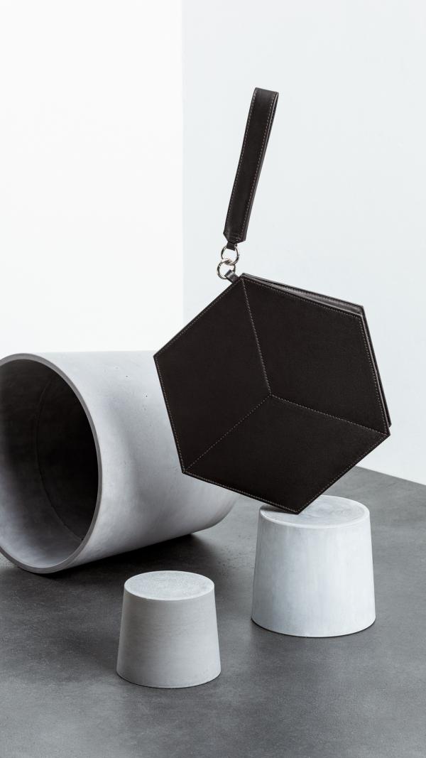 Black Flat Hexacube Handbag