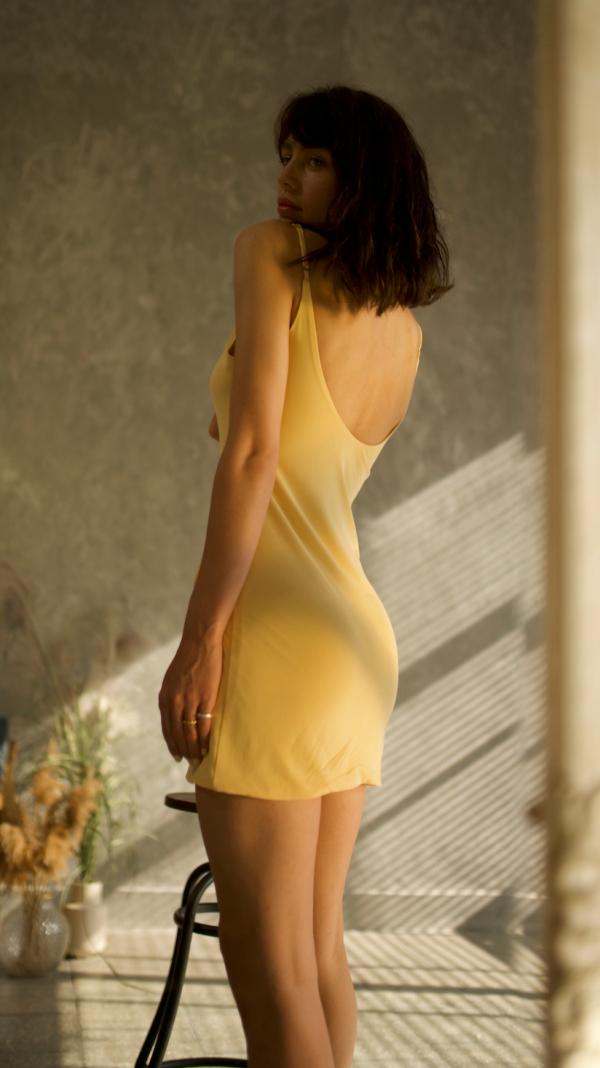 Thin Stripes Mini Dress Yellow