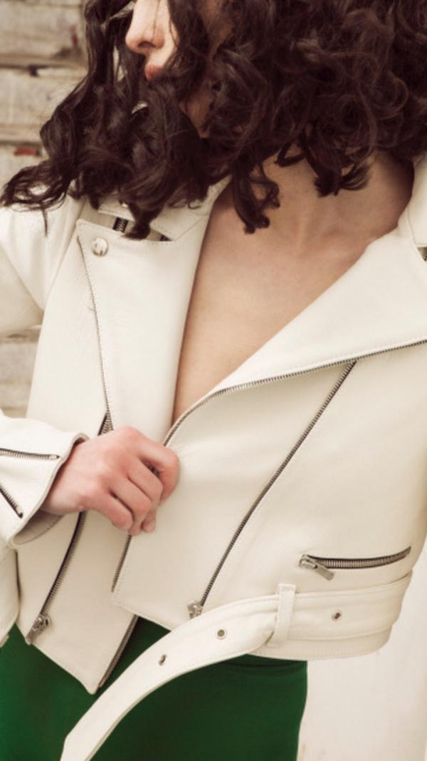 White Mo-Biker Jacket