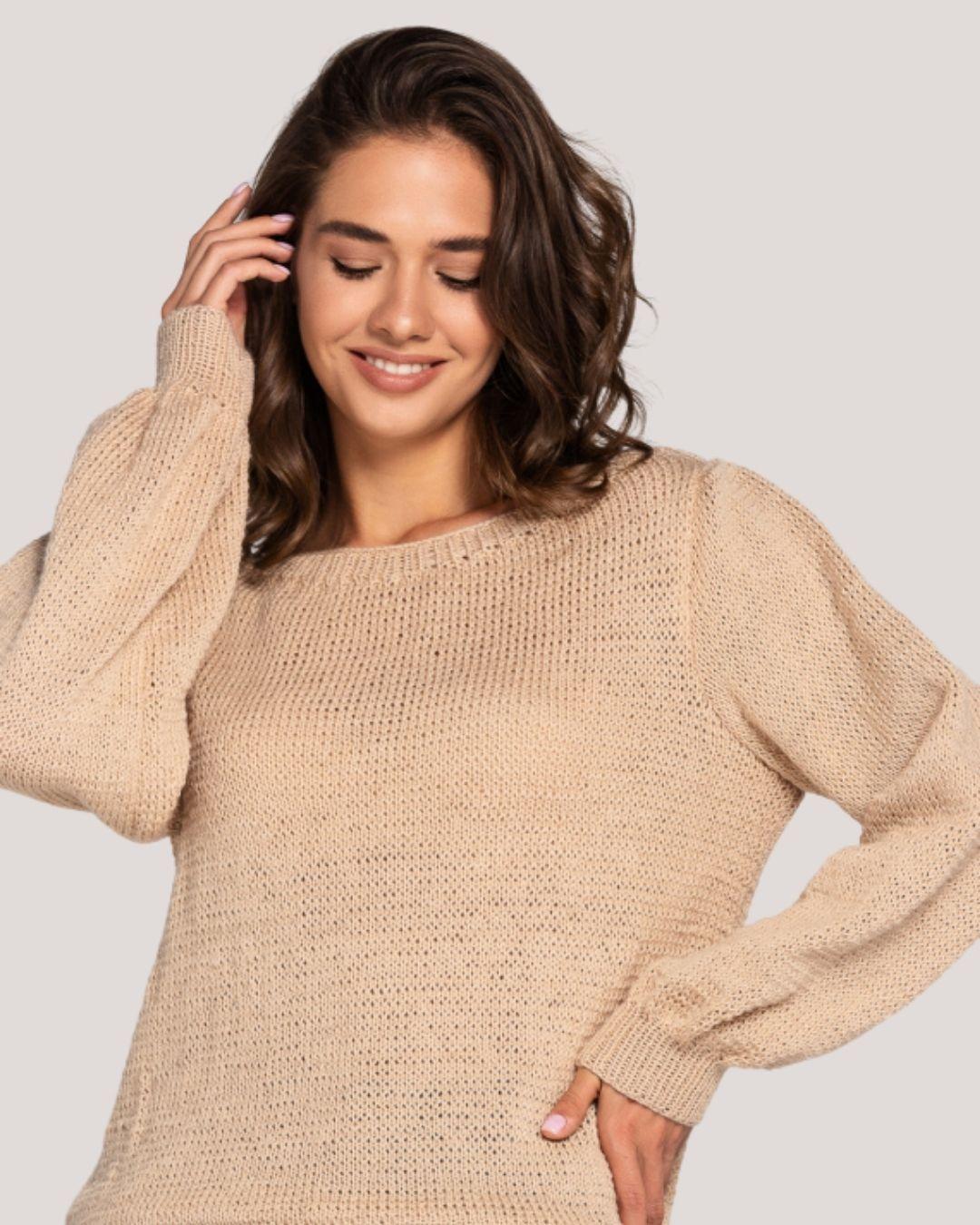 Women's Beige Wool Sweater